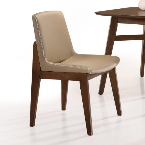 AS-萊安胡桃淺咖啡皮餐椅-48x52x84cm