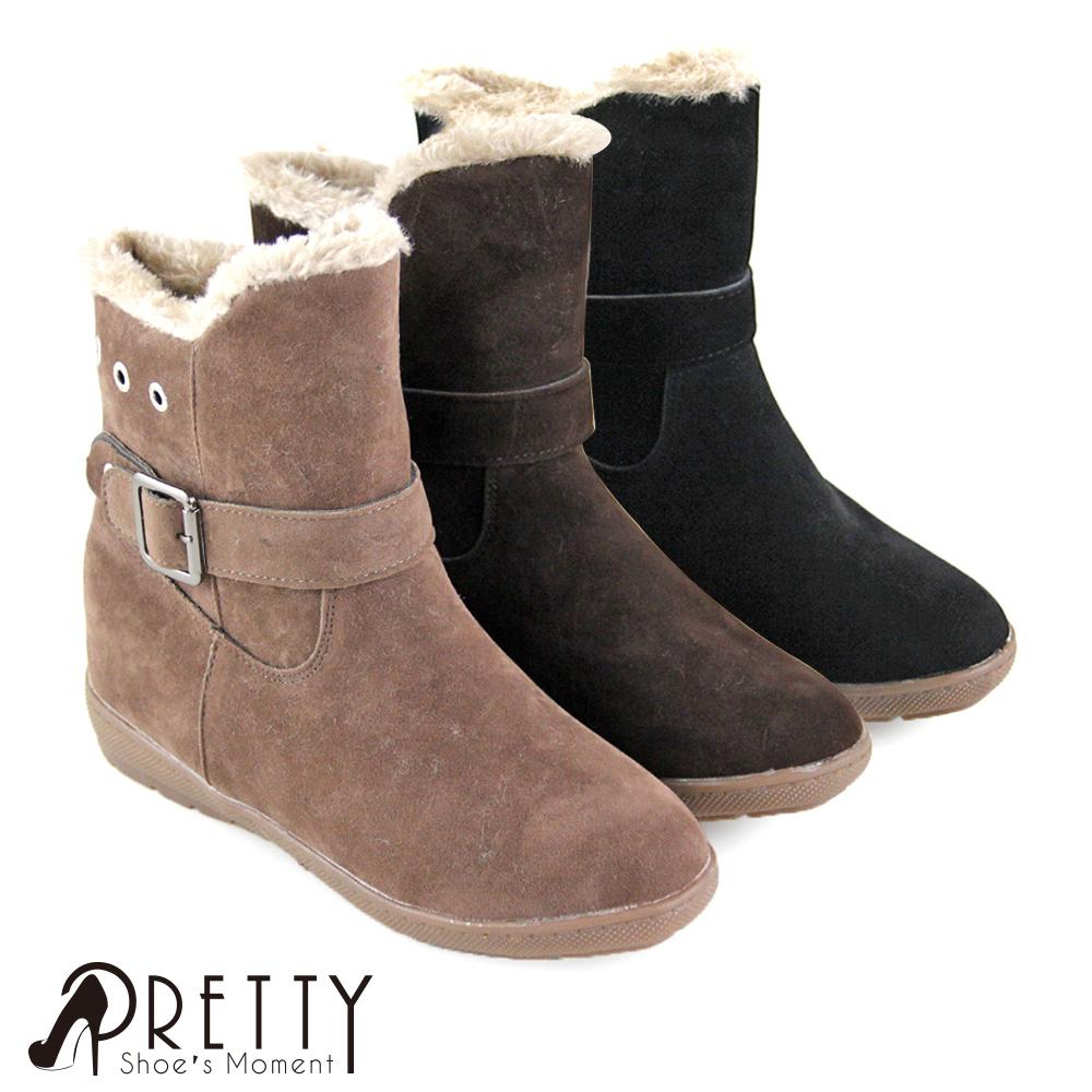 【Pretty】素面絨布一字皮釦小坡跟刷毛保暖短雪靴