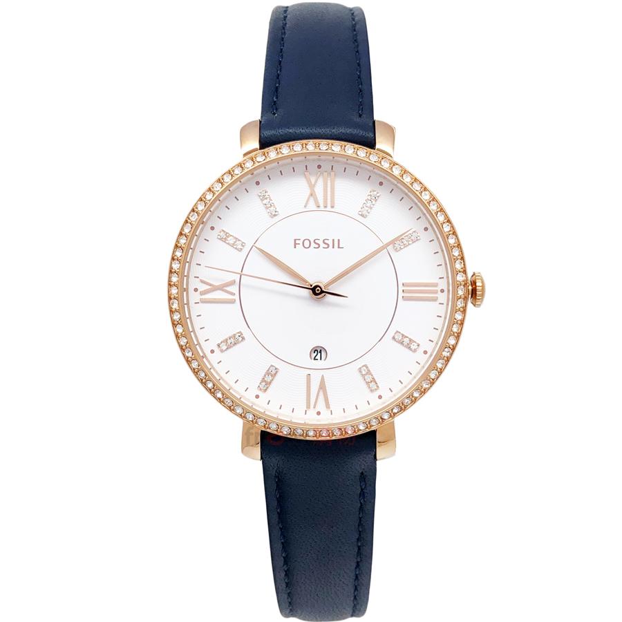 FOSSIL手錶 ES4291 閃耀玫瑰金 深藍色皮帶 女錶