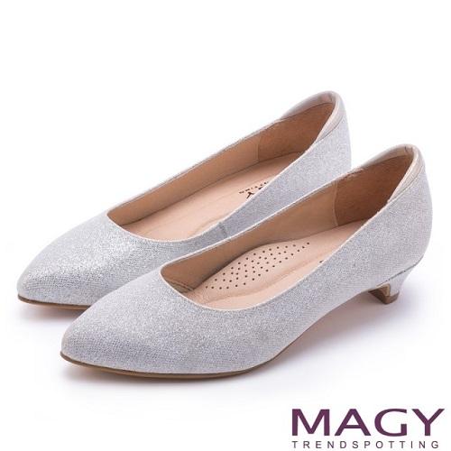 【MAGY】簡約奢華風 親膚防磨閃爍夢幻低跟鞋(銀色)
