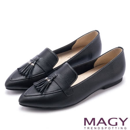 【MAGY】 柔軟牛皮流蘇樂福平底鞋