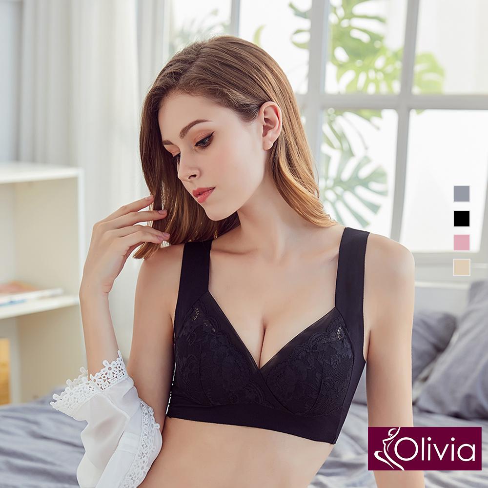 【Olivia】無鋼圈浪漫典雅蕾絲美背內衣-黑色