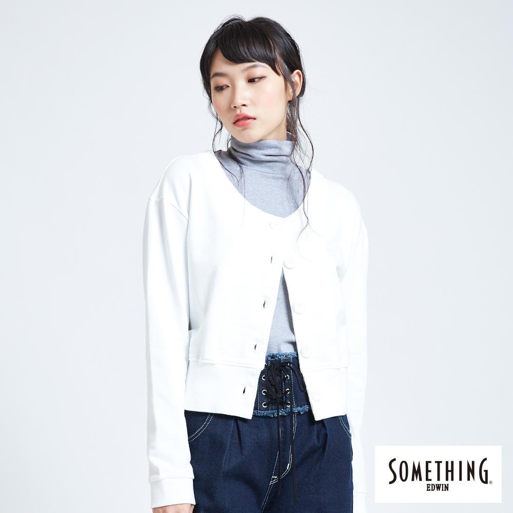 SOMETHING 雙面穿開襟圓領長袖T恤-女-白色