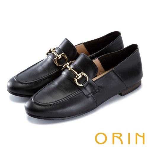 【ORIN】復古樂活主義 經典馬蹄扣牛皮平底鞋(黑色)