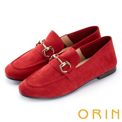 【ORIN】復古樂活主義 經典馬蹄扣牛皮平底鞋(紅色)