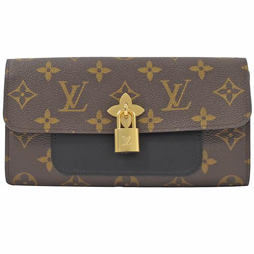 Louis Vuitton LV M62577 新版 Flower 經典花紋扣式長夾.黑_現貨