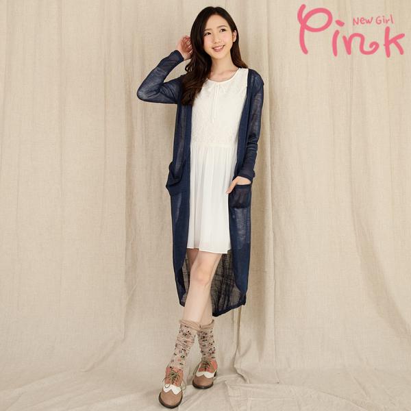 【Pink】隨性風針織長板罩衫 G1404AD