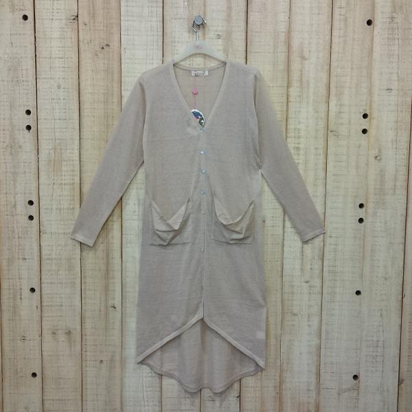 【Pink】隨性風針織長板罩衫(奶茶色) G1404AD