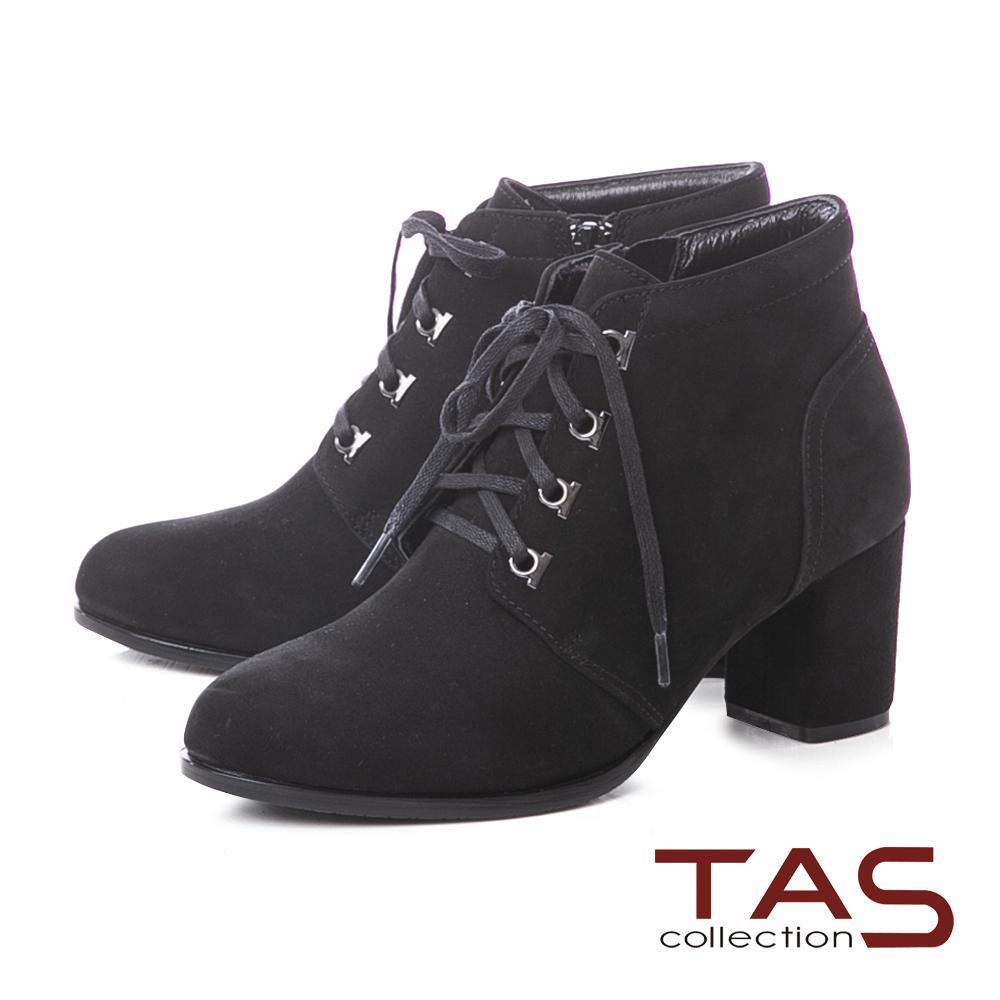 TAS質感素面牛皮綁帶高跟短靴–實搭黑