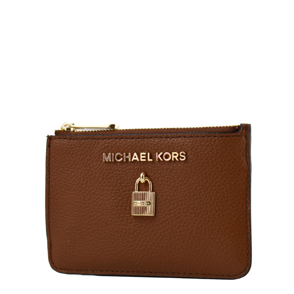 MICHAEL KORS 鎖頭裝飾荔枝紋拉鍊證件鑰匙零錢包-焦糖色