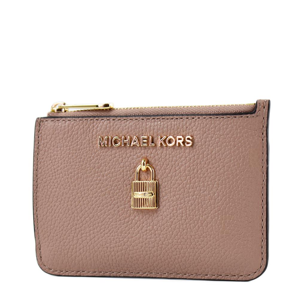 MICHAEL KORS 鎖頭裝飾荔枝紋拉鍊證件鑰匙零錢包-莫蘭迪粉