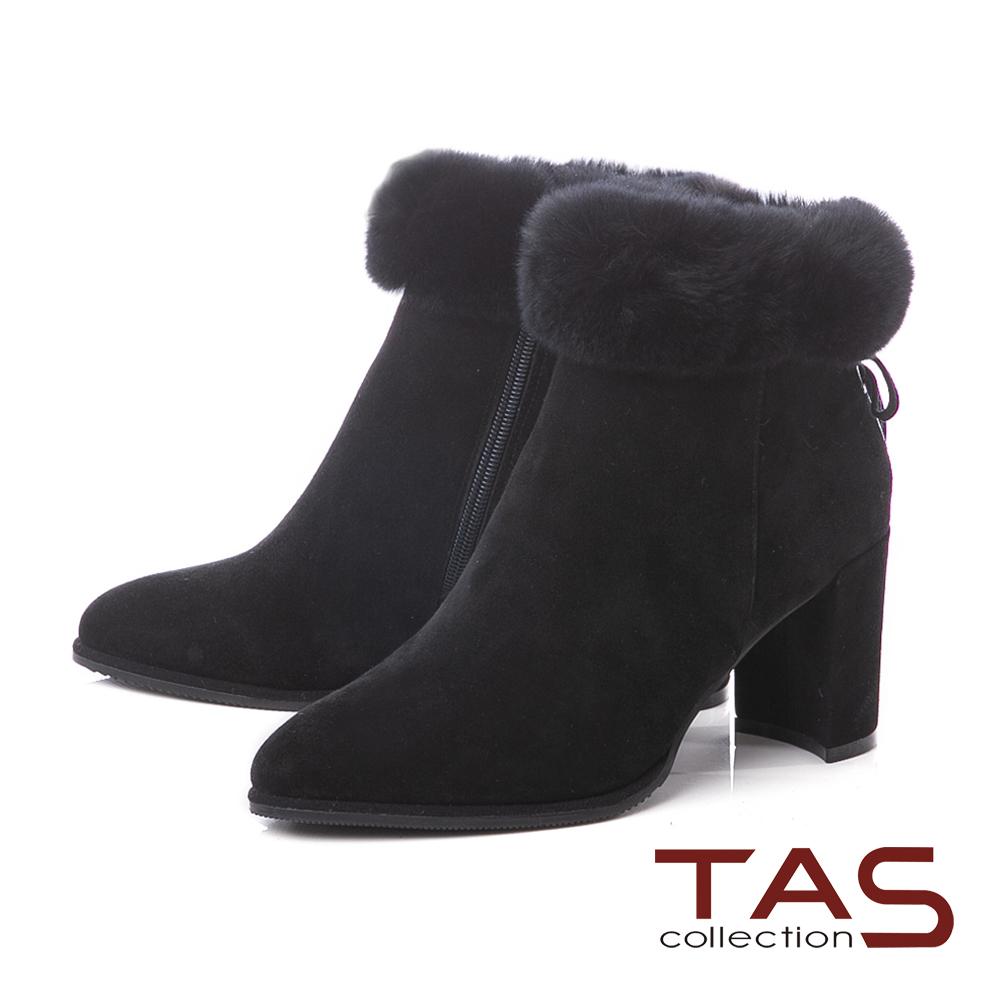 TAS兔毛滾邊蝴蝶結羊麂皮高跟短靴–氣質黑