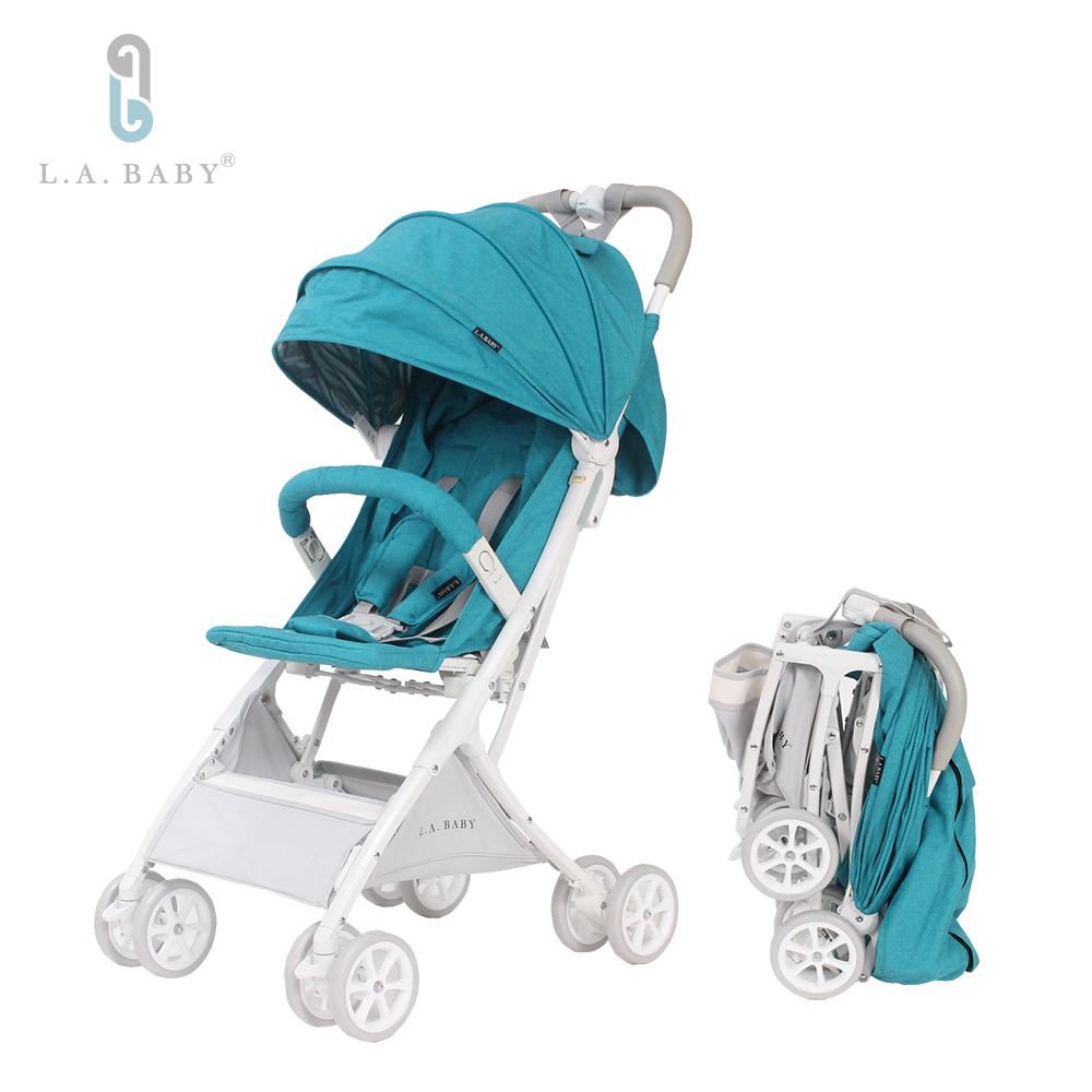【美國 L.A. Baby】隨行迷你嬰兒手推車 藍色