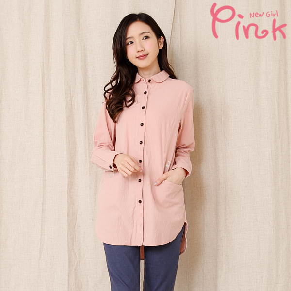 【Pink】休閒系長版襯衫 G4201AD