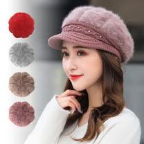 【幸福揚邑】優雅珍珠兔毛保暖加絨小顏針織毛線帽