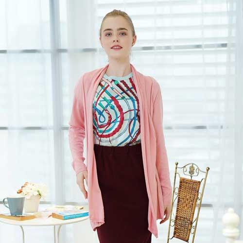 闕蘭絹蠶絲針織罩衫綁帶外套-6619(粉)