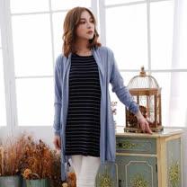 闕蘭絹蠶絲針織罩衫綁帶外套 - 6619(藍)