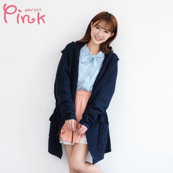 【Pink】針織長版保暖罩衫(藍色) G4403AT
