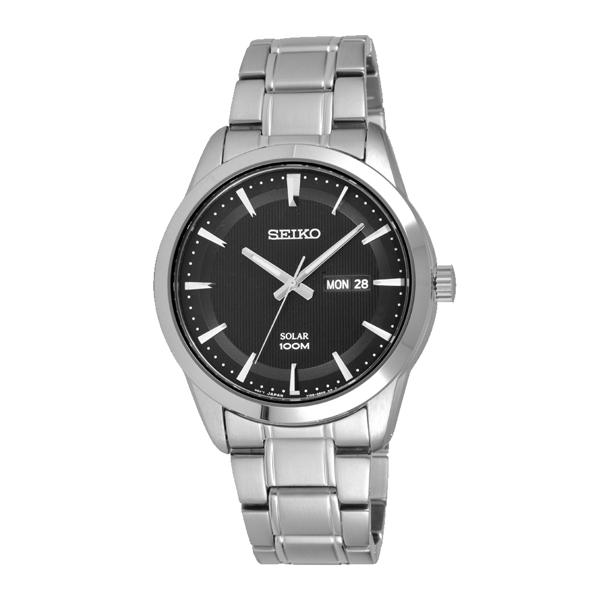 SEIKO時尚俐落質感騎士腕錶-銀X黑-SNE363P1