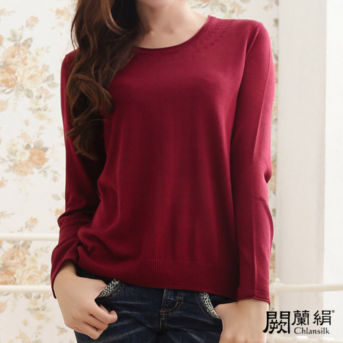 闕蘭絹舒適感100%蠶絲針織上衣-611(紅)