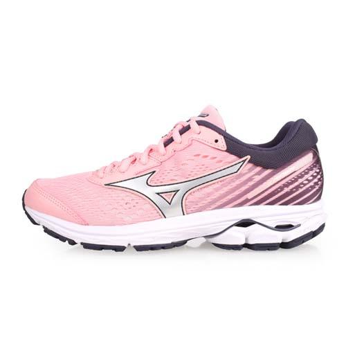 (女) MIZUNO WAVE RIDER 22 慢跑鞋-路跑 美津濃 淺粉丈青銀