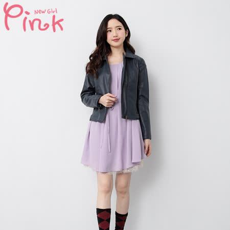 Pink 俐落短版皮質夾克
