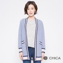 CHICA<BR>英倫學院粗麻花織紋羊毛外套(2色)