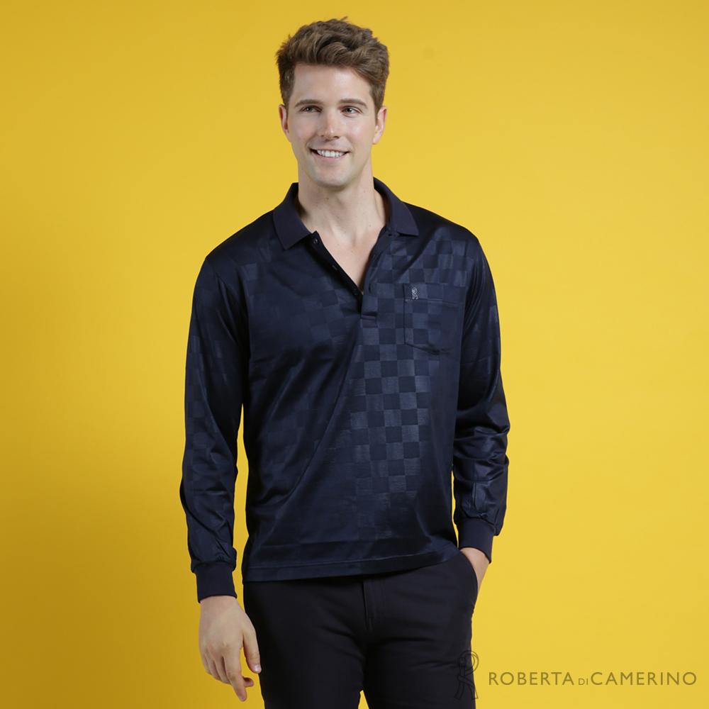 ROBERTA諾貝達 台灣製 時尚型男 現代設計方格長袖POLO棉衫 深藍