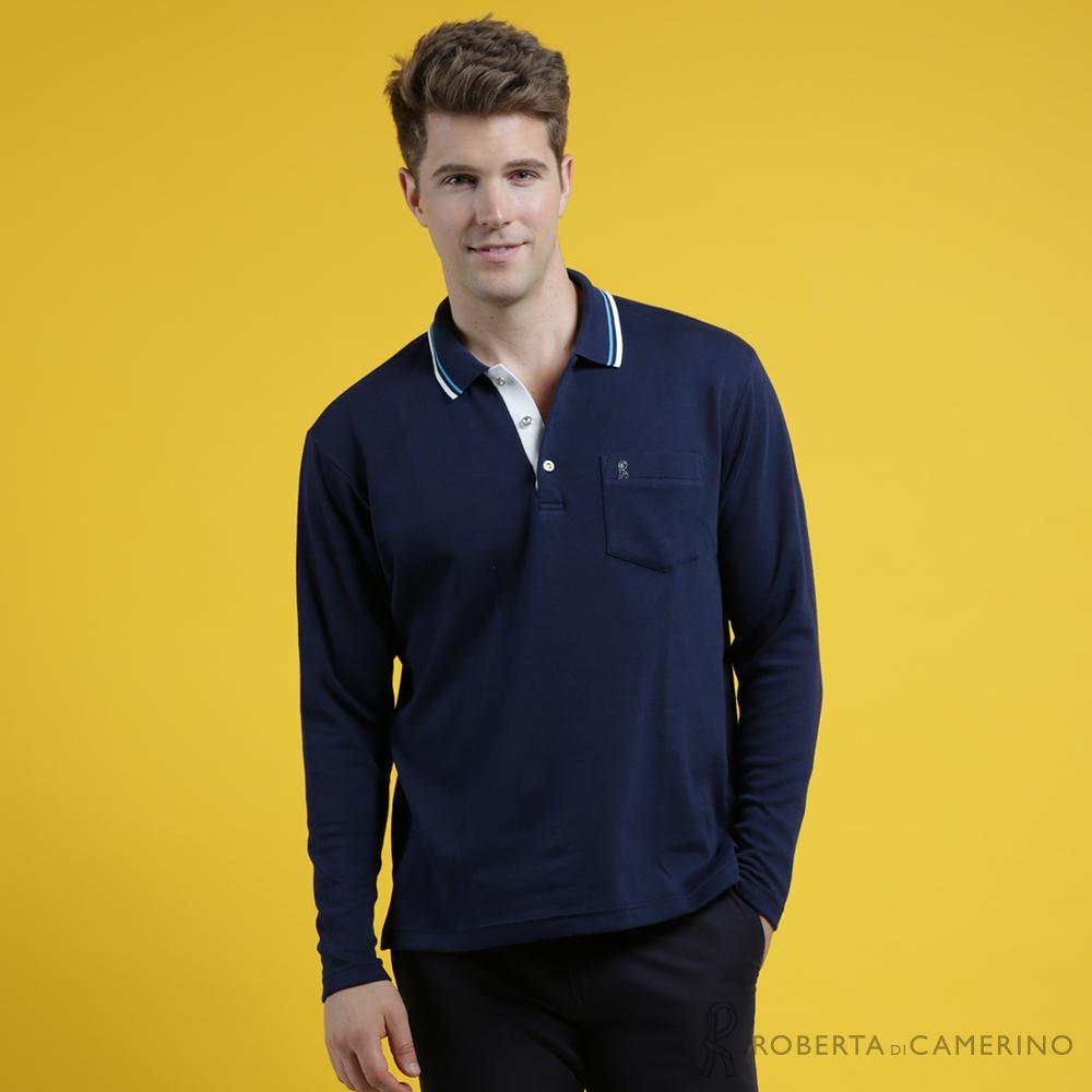 ROBERTA諾貝達 台灣製 帥氣型男 設計配色POLO長袖POLO棉衫 深藍