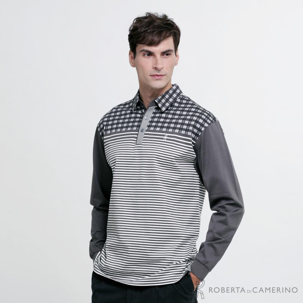 ROBERTA諾貝達 台灣製 時尚型男 純棉長袖POLO衫  鐵灰