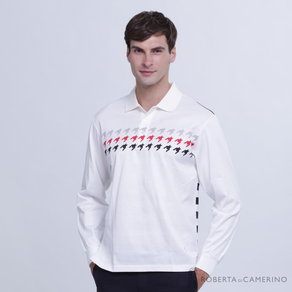 ROBERTA諾貝達 台灣製 潮流型男 合身版 千鳥條紋拼色長袖POLO棉衫  白