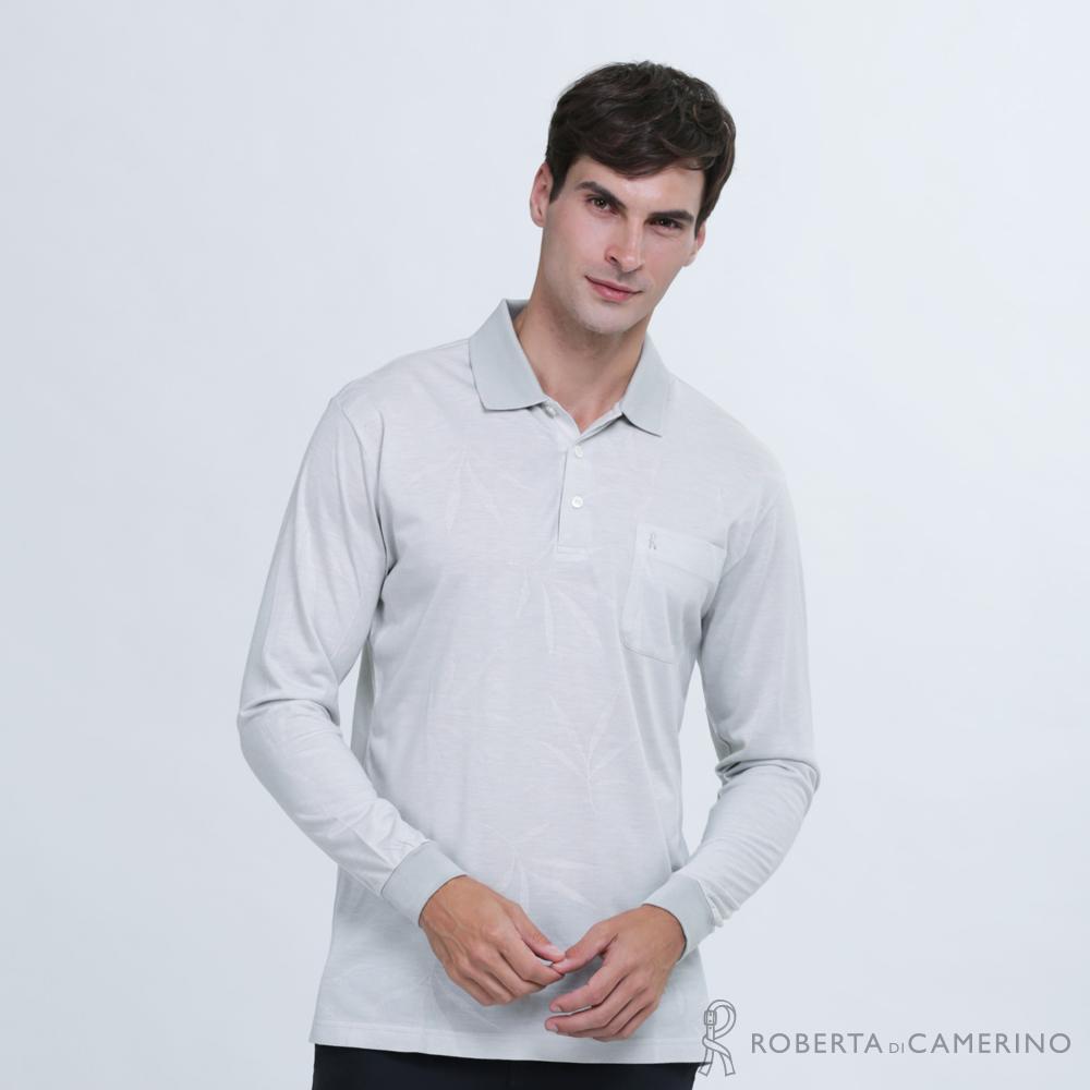 ROBERTA諾貝達 台灣製 都會時尚 機能長袖POLO棉衫  灰色