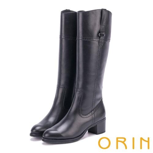 【ORIN】時髦簡約 立體剪裁造型粗低跟真皮長筒靴(黑色)