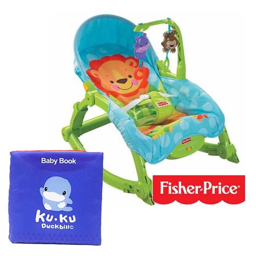 費雪牌 Fisher-Price 可愛動物可攜式兩用安撫躺椅+酷咕鴨KU.KU. 布書