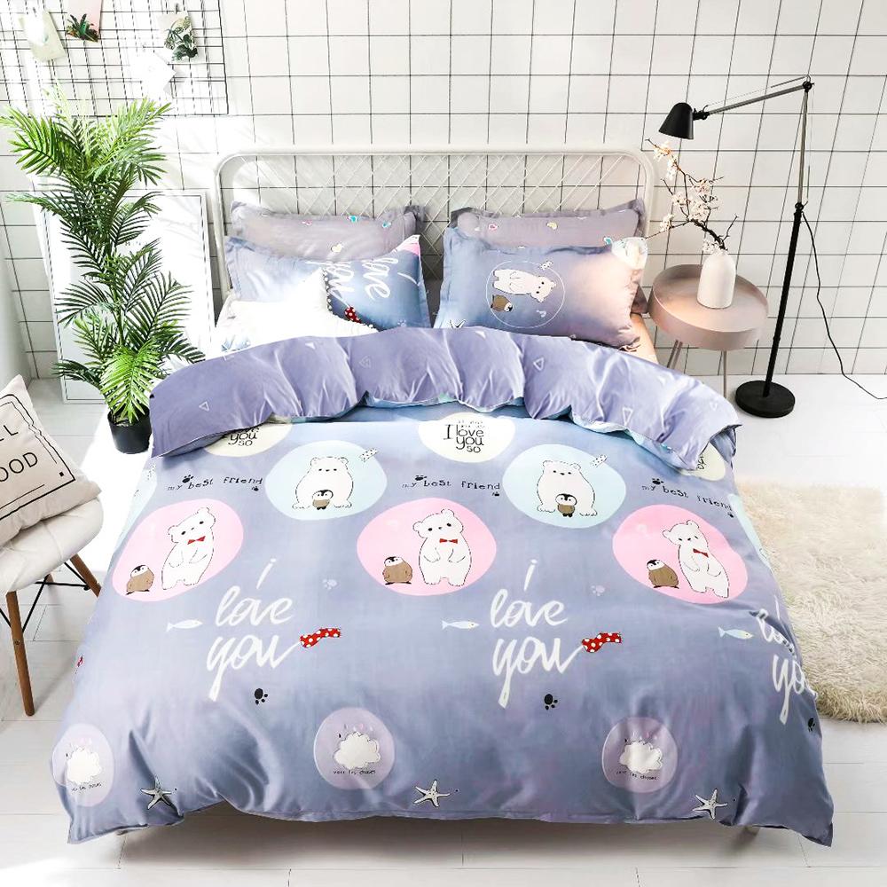 【ARTIS】台灣製-雪紡棉雙人床包/枕套三件組-小白熊