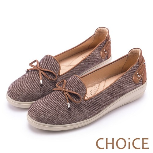 【CHOiCE】渡假休閒 毛呢條紋休閒平底鞋(棕色)