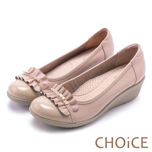 【CHOiCE】Q軟舒適優雅 抓皺牛皮水鑽坡跟鞋(粉色)