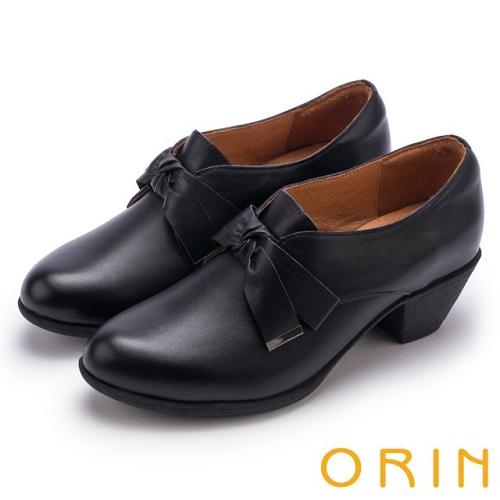 【ORIN】復古甜心 蠟感牛皮蝴蝶結粗跟牛津鞋(黑色)