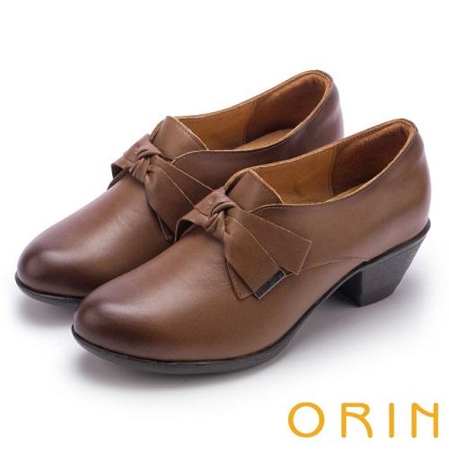 【ORIN】復古甜心 蠟感牛皮蝴蝶結粗跟牛津鞋(咖啡)