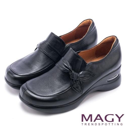 【MAGY】復古休閒 蠟感牛皮百搭休閒包鞋(黑色)