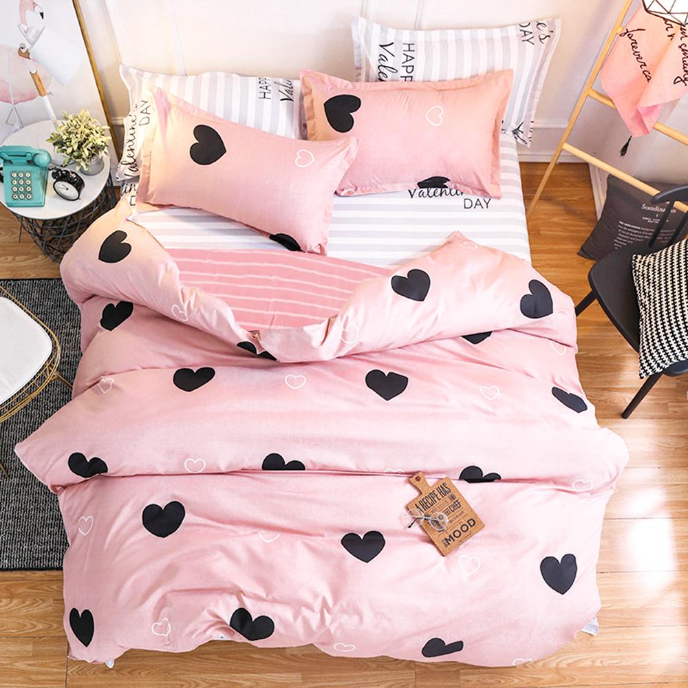 【ARTIS】台灣製-單人床包/雙人薄被套三件組-粉紅龐克