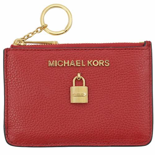 MICHAEL KORS ADELE 鎖頭造型鑰匙環零錢包.紅