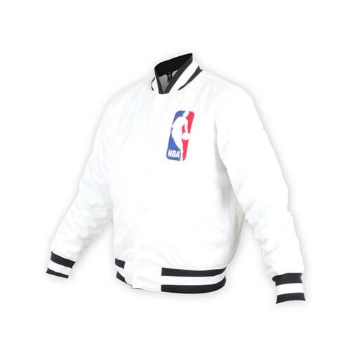 (男) NIKE NBA防風棒球外套-風衣外套 籃球 保暖外套 鋪棉 白黑