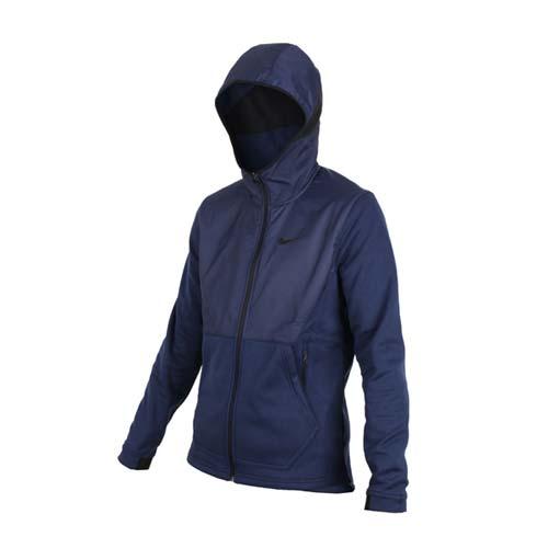 (男) NIKE 運動外套-防風外套 保暖 刷毛 立領外套 丈青黑