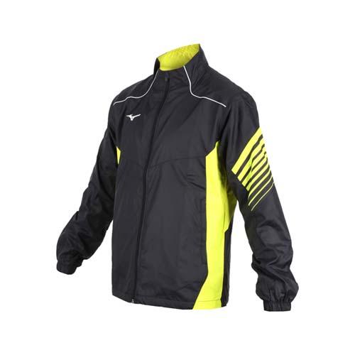 (男) MIZUNO 風衣外套-立領外套 保暖 防潑水 防風外套 美津濃 黑芥末黃