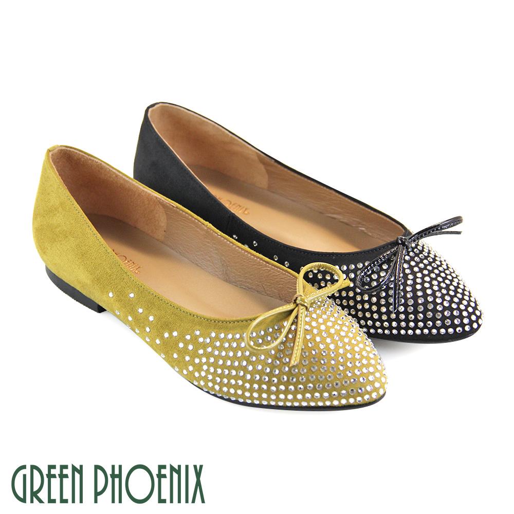 【GREEN PHOENIX】壓克力水鑽蝴蝶結牛麂皮平底尖頭娃娃鞋