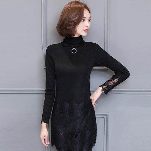 amore 加絨加厚韓版冬季高領蕾絲打底衫女氣質顯瘦中長款連衣裙(3色)