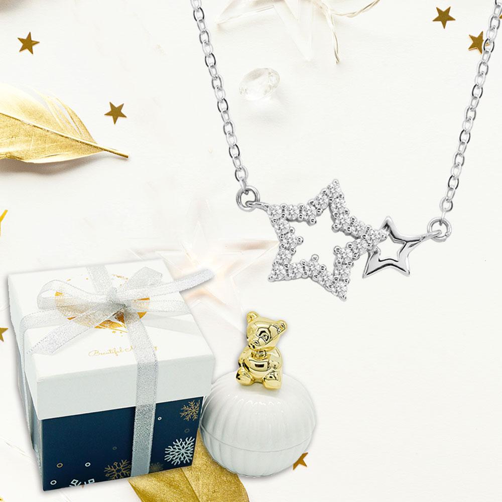 【YUME】雙星傳說項鍊(小熊耶誕禮盒)
