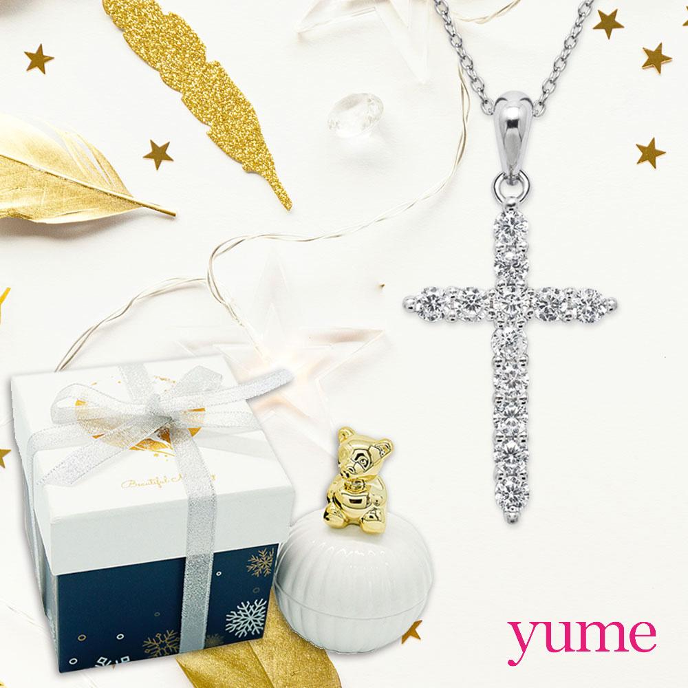 【YUME】晶鑽十字項鍊(小熊耶誕禮盒)