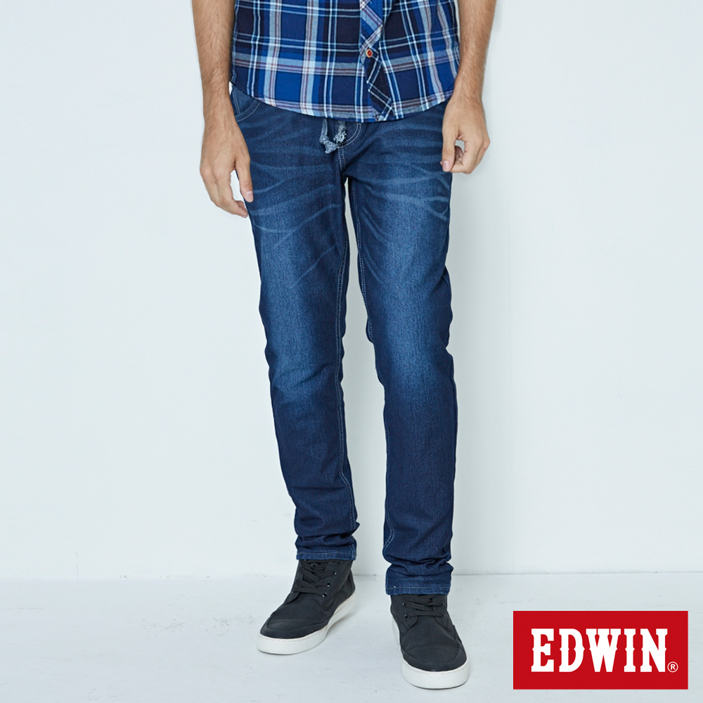 EDWIN JERSEYS 迦績褲 加大碼 紅邊繡花AB牛仔褲-男-酵洗藍